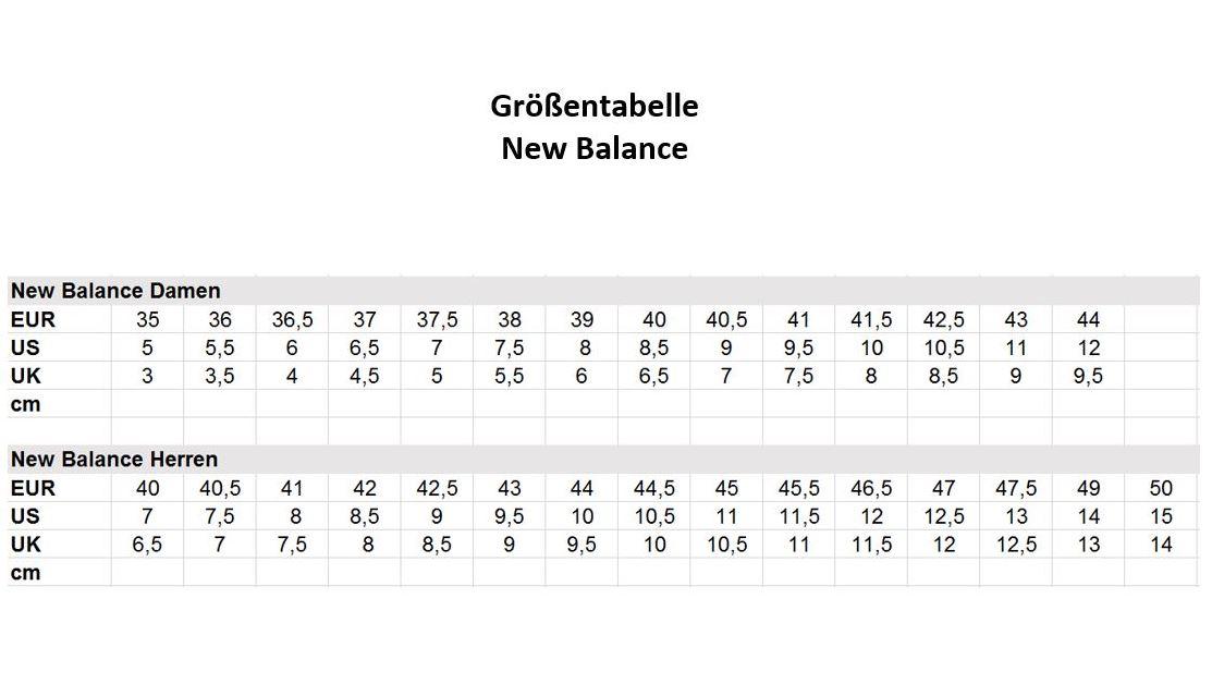 new balance damen größentabelle
